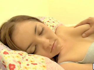 Sleeping brunette teenie with round tits fucked hard