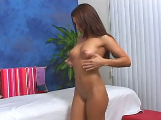 Brunette babe has her shaved snatch fucked by a big detect