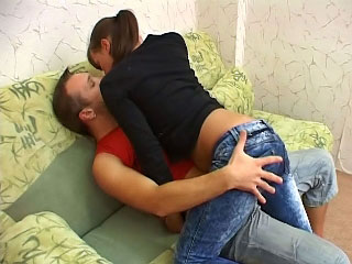One lucky guy screwing amateur babe at his apartment
