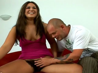 One nice super hairy girl getting drilled in this scenes