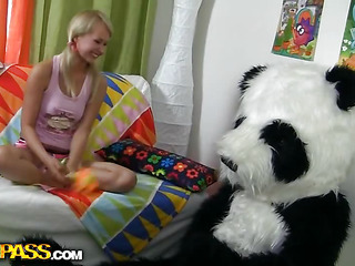 What would u do if your beloved panda teddy bear turned out to be alive and damn horny? Probably u'd be scared at first, like this pretty golden-haired teenager. But then this babe realized that it offered so many thrilling possibilities... In fact, this babe's always wanted to have sex with large toys. And..