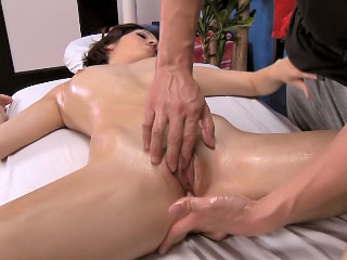 Brunette neonate has her shaved snatch fucked by a big Hawkshaw