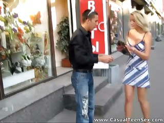 U really gotta be a 100% golden-haired to buy it when some guy runs into u on the street and invites u home to give u a recent fashion magazine as an apology. Or maybe this teeny was just extremely horny and the guy looked like a good candidate for a quickie. In any case that babe ended up engulfing and riding his weenie and getting her little shaved fur pie fucked to multiple orgasms. What a relief!