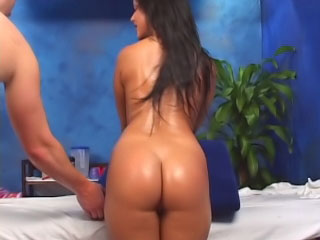 Brunette babe has her shaved snatch fucked by a big dick