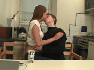 Sex appeal legal age teenager chick kneels and performs worthy oral-stimulation.