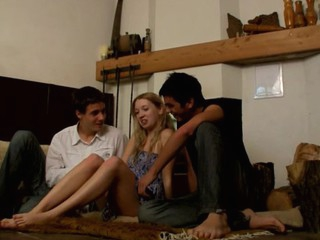 Seductive golden-haired is banged by two legal age teenager studs with excitement