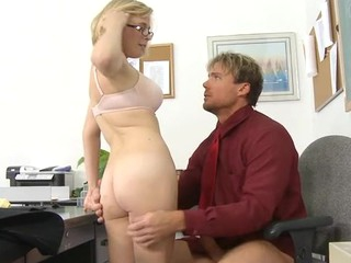Vicious schoolgirl rides a hard ramrod of her teacher