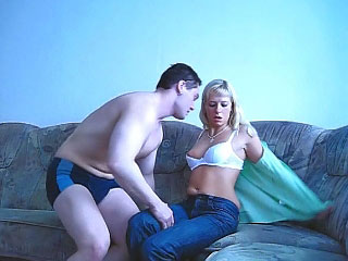 Amazing blonde pigtailed teen getting throat screwed hard