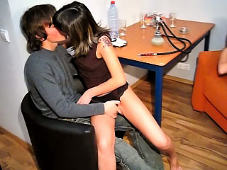 Two guys ang twosome gorgeous girls have a hot groupsex scene
