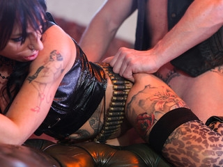 Massive prick pounds horny inked sweetheart wearing bullet belt.