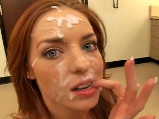 Hot brunette enjoys sperm shower on her face after fucking