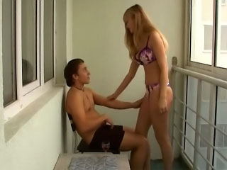 Blonde sucks his horse feathers then has him stick his cock up her ass