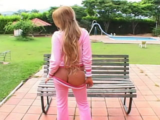 Sweet blonde teenie stripping and showing her pussy outdoors