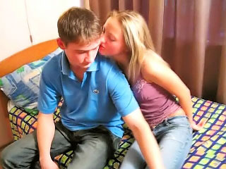 Amazing blonde teenie suckes and gets fucked by dirty man