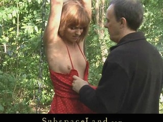 Corporalist takes his thrall in the forest for a kinky S&m outside play. Although the redhead hotty is bound-up and smuff-gaged with her bikini that babe struggles to escape from thraldom but has no success