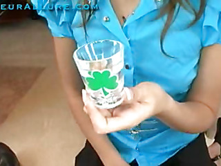Katie is back and in honor of St. Patricks Day, this babe wants to do the cum discharged glass trick! After that babe gives me some fantastic head, I discharge a huge load into a discharged glass and this babe slams it down. Bottoms Up! Katie is really excelling in her oral skills.