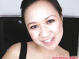 Carmina is an oriental slut out of gag reflex. That Babe takes a ramrod all the way down her mouth and holds it for a whilst. Then Carmina gets her shaved slit fucked then the ramrod goes right back into her mouth. This Babe jerks off Thomas' penis until it erupts in her hand.