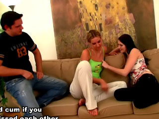 Two gorgeous teens take a crack at fun with dick coupled with then suck immutable