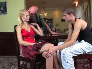 Adorable young girl gets pussy fucked by two horny guys