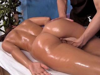 Super hot brunette babe sucks cock then gets fucked hard