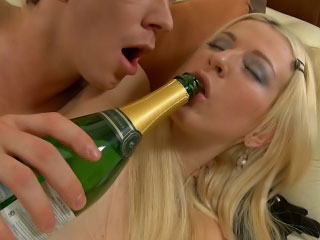 Flaxen-haired babe gets pussy licked and ass fucked by a hard cock