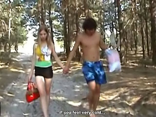 Gorgeous teenie getting screwed hard by casual man outdoors