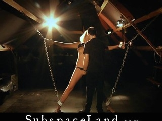 Fastened in chains and ropes Lara Sweet is entirely vulnerable and infirm. That Babe is the consummate sex doll toy to play with! Master's sadomasochism dreams needs such clumsy slaves, to endure and engulf submissively