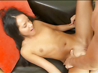 Chick gives head stimulating clitoris and gets banged hard