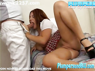 Alyssa has a large problem and an even bigger set of milk shakes. This Babe is struggling in school and has to convince her tutor to do smth about her grades in advance of daddy takes away her credit card and cell phone. I do not know what that guy can do for her, but that babe is ready to engulf his 10-Pounder to get it. Alyssa is a very large gal who can not aid but spilling out of her little schoolgirl outfit as this babe widens her legs and inhales his pole. This Chab copulates her from behind and then flips her over. A second guy shows up for a whilst with no explanation. This Chab vanishes and we lastly get a little bit of energy from her as that babe takes the last small in number strokes from behind. This Chab leaves a pretty good load on her face. This hotty could do well in large tit movies, but this babe is going to have to crank up the heat a bit.