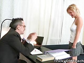 When Shelly spends a little additional time with her teacher this babe pretty soon realises what a tricky old bastard that guy really is!  It's not lengthy in advance of that guy's got his rod out and this babe's stripping off for a admirable fuck